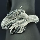 Exquisite Black Rhinestone Crystals Tail Horse Bracelet Bangle Cuff 20810