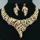 Gold Tone Floral Flower Necklace Earring Set W/ Pink Rhinestone Crystals 5148