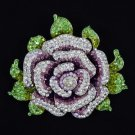 3308 Rhinestone Crystals Dazzling Purple Rose Flower Brooch Broach Pin 4.3""