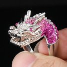 Rhinestone Crystals Silver Tone Cute Pink Dragon Cocktail Ring 7#