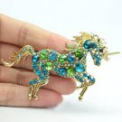 "VTG Style Green Unicorn Horse Brooch Pin Pendant Rhinestone Crystals 3.3"" 6172"