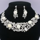 Bride White Acrylic Rose Flower Necklace Earring Set W Rhinestone Crystals 02677