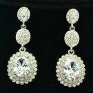 Clear Zircon Rhinestone Crystals Dangle Flower Pierced Earring Wedding 20576