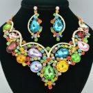 Flower Teardrop Necklace Earring Set W/ Mix Rhinestone Crystals 02733