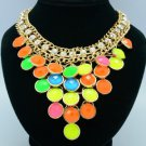 Gold Tone Fashion Candy Color Ball Resin Necklace Pendant W/ Mix Acrylic