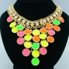 Multicolor Acrylic Fashion Candy Color Ball Resin Necklace Pendant W/ Gold Tone