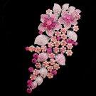 "Rhinestone Crystals Gorgeous Pink Flower Brooch Broach Pin 6.5"" 3773"