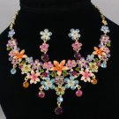 Swarovski Crystals Multicolor Flower Necklace Earring Set 2575 Lead Nickel Free