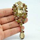 """Brown Rhinestone Crystals Rose Flower Brooch Pin Broach Pendant 3.5"""" 6303"""