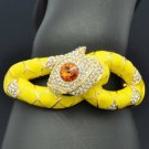 Swarovski Crystals Yellow Enamel Boa Snake Bracelet Bangle Cuff SKCA2077M-6
