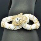 Swarovski Crystals White Enamel Boa Snake Bracelet Bangle Cuff SKCA2077M-3