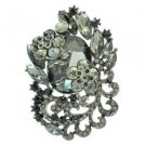 "Rhinestone Crystals Chic Black Flower Brooch Broach Pendant Pin 2.6"" 6329"