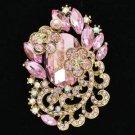 "Rhinestone Crystals Chic Pink Flower Brooch Broach Pendant Pin 2.6"" 6329"