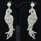 Cute Clear Rhinestone Crystals Dangle Bird Animal Pierced Parrot Earring