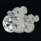 Swarovski Crystals Animal Clear Bear Koala With Baby Brooch Broach Pin 1.7""