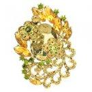 "Rhinestone Crystals Chic Brown Flower Brooch Broach Pendant Pin 2.6"" 6329"