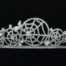 Stunning Wedding Clear Spider Web Cobweb Tiara Crown Rhinestone Crystals 14359R