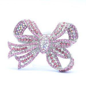 "Pink Bowknot Brooch Broach Pin 3.0"" W/ Rhinestone Crystals 8805820"