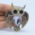 Vintage Style Bird Owl Brooch Broach Pin W/ Purple Rhinestone Crystals 5758