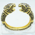 Gold Tone 2 Leopard Panther Bracelet Bangle Cuff W/ Black RhinestoneCrystals