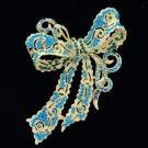 "Gold Tone Bow Bowknot Brooch Pin 4.0"" W/ Blue Zircon Rhinestone Crystals 5823"