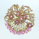 "Faux Pearl Round Flower Brooch Broach Pin 2.1"" W/ Pink Rhinestone Crystals 5837"