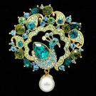 Swarovski Crystals Faux Pearl Drop Green Peafowl Peacock Brooch Pin SBA4504-1