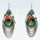 Vintage Style Rhinestone Crystals Resin Dangle Pierced Earring 00820