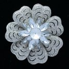 "Bridal Clear Floral Flower Brooch Broach Pin 2.7"" W/ Rhinestone Crystals 6028"