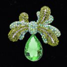 "Green Rhinestone Crystals Bowknot Drop Flower Brooch Pin 2.4"" 5988"