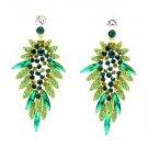 Beauty Green Flower Pierced Earring W/ Rhinestone Crystals 111134