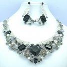 Romantic Heart Flower Floral Necklace Earring Set Black Rhinestone Crystal 04526