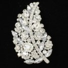"Brid Wedding Leaf Flower Brooch Broach Pin 3.7"" W/ Clear Rhinestone Crystal 4245"