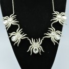 5 Tarantula Spider Necklace Pendant W/ Clear Swarovski Crystals Halloween