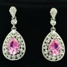 Rhinestone Crystals Dangle Flower Pierced Earring W/ Drop Pink Zircon 20581