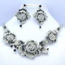 Popular Fancy Black Rose Flower Necklace Earring Set W/ Gray Rhinestone Crystals