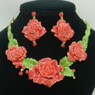 Swarovski Crystal Ideal Fancy Red Rose Flower Necklace Earring Set W/ Green Leaf