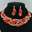 Vogue Red Acrylic Rose Flower Necklace Earring Set W Rhinestone Crystals 02677