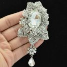 "Clear Flower Leaves Broach Brooch Pin Pendant Rhinestone Crystals 3.9"" 6176"