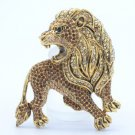 "Vintage Style H-Quality Lion Brooch Broach Pin 2.5"" W/ Brown Swarovski Crystals"