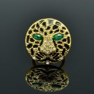 Swarovski Crystals Animal Panther Leopard Cocktail Ring 9# w/ Green Eye R08563