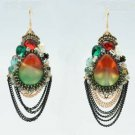 Gold Tone Rhinestone Crystals Resin Dangle Pierced Earring 00820