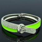 Silver Tone Green Buckle Bracelet Bangle Cuff W/ Clear Rhinestone Crystals 20622