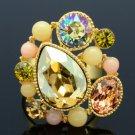 Swarovski Crystals Acrylic Topaz Flower Cocktail Ring Size Adjustable 279033