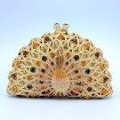 Swarovski Crystals Luxurious Gold Peafowl Peacock Clutch Evening Purse Handbag