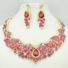 Gold Tone Teardrop Flower Necklace Earring Set Fuchsia Rhinestone Crystal 02162
