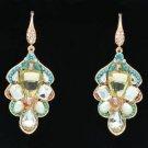 Faux Pearl Leaf Dangle Pierced Earring W/ Clear Rhinestone Crystals 00650-2