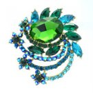 "Vintage Style Rhinestone Crystals Green Flower Brooch Broach Pin 2.7"" 5959"
