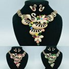 Exquisite Animal Flower Swan Necklace Earring Set Swarovski Crystals Drop 678601
