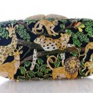 Excellent Swarovski Crystals Panther Deer Tiger Clutch Evening Bag Purse Handbag